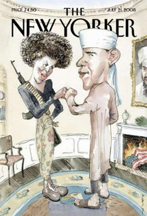 The New Yorker's cover cartoon of Barack and Michelle Obama